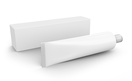 Blank toothpaste mockup, paste tube with paper box in 3d render