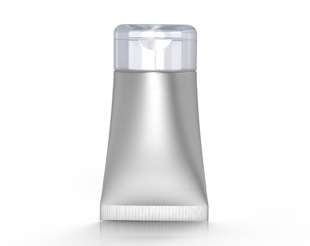 3D render facial cleanser mockup, face wash container tube template in silver
