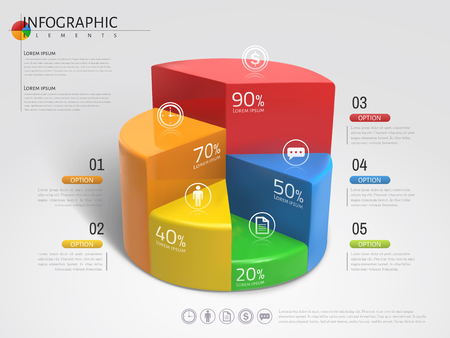 3D Pie chart infographic, plastic texture pie chart with different colors in 3d illustration