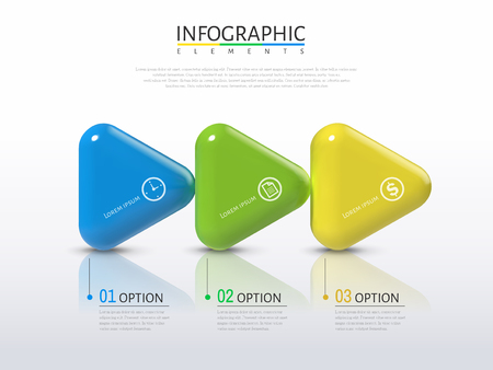 3D arrows infographic, plastic texture glossy arrows with different colors in 3d illustration, process concept