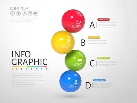 3D sphere infographic, plastic texture glossy texture balls with different colors in 3d illustration Ilustração