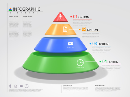 3D triangle infographic, plastic texture with different colors in 3d illustration