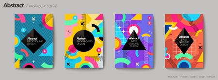 抽象的な背景デザイン、カラフルな色調で幾何学的なメンフィス スタイル デザイン