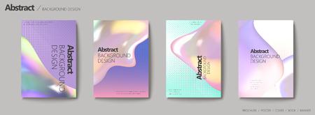 Abstract background design, fluid colors set with halftone elements for design uses Ilustração