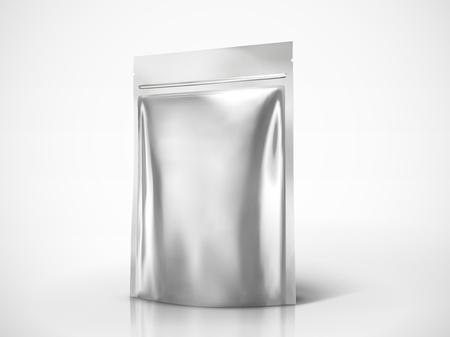 ブランク doy パックのモックアップ、3d イラストでデザインを使用するためのシルバーカラーパッケージ