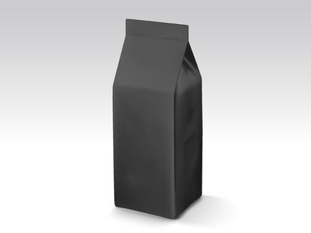 Koffieboon of theebladenzak, 3d het modelmalplaatje van de illustratzak voor ontwerpgebruik, zwarte foliezak Stock Illustratie
