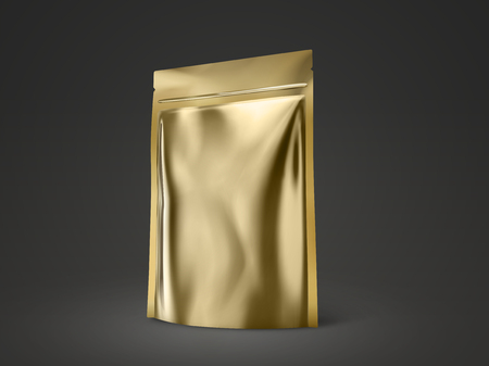 Blank doy pack mockup, gold color package for design uses in 3d illustration Çizim