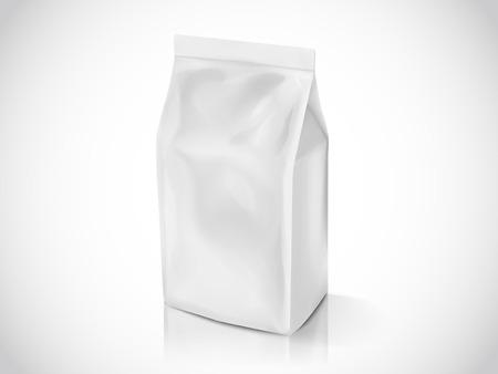 Coffee bean or tea leaves bag, 3d illustration bag mockup template for design uses, pearl white foil bag