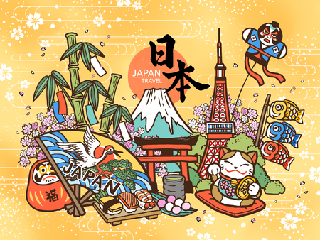 Beau concept de voyage au Japon, style mignon dessiné à la main avec des attractions et des symboles célèbres, nom du pays japonais et fortune en japonais sur le daruma Vecteurs