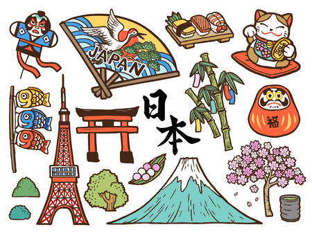 Lovely Japan symbol collection, hand drawn style with traditional symbols isolated on white background, Japan country name and fortune in Japanese on the daruma