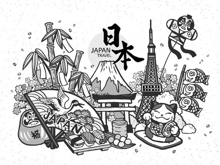 Lovely Japan concept illustration, hand drawn style with traditional symbol collection, fortune word in Japanese on the red daruma.