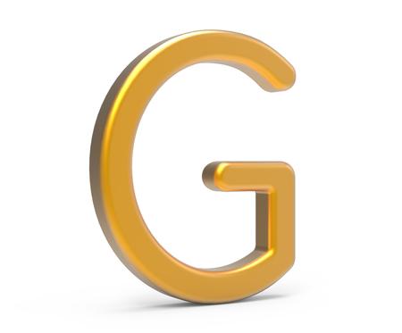 Alphabet métallique de rendu 3D G, conception de polices 3D or mince et brillant Banque d'images - 89441785