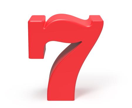 3D 렌더링 빨간색 숫자 7, 레트로 지방 3D 그림 디자인 스톡 콘텐츠