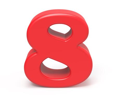 3D render red number 8, retro fat 3D figure design