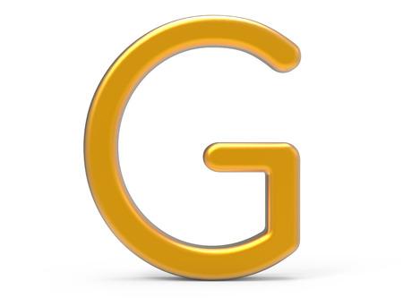 3D rinden el alfabeto metálico G, diseño de fuente de oro 3D fino y brillante Foto de archivo - 89425293