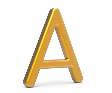 3D render metallic alphabet A, thin and glossy golden 3D font design