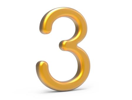 3D render dourado número 3, fino e plástico textura 3D figura design Foto de archivo - 89613169