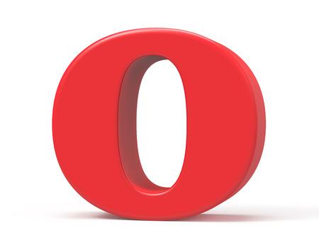 3D render red alphabet O, retro fat 3D font design