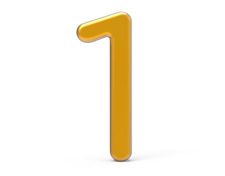 3D rinden el número de oro 1, diseño fino y plástico de la figura 3D de la textura Foto de archivo - 89613171
