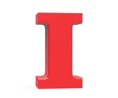 3D render red alphabet I, retro fat 3D font design