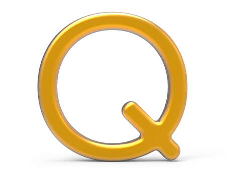 3D render metallic alphabet Q, thin and glossy golden 3D font design Stock Photo