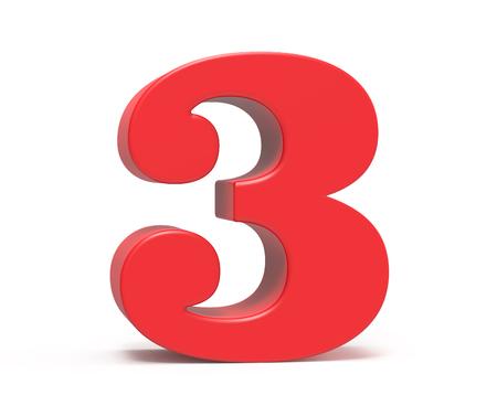 3D render red number 3, retro fat 3D figure design Stock Photo