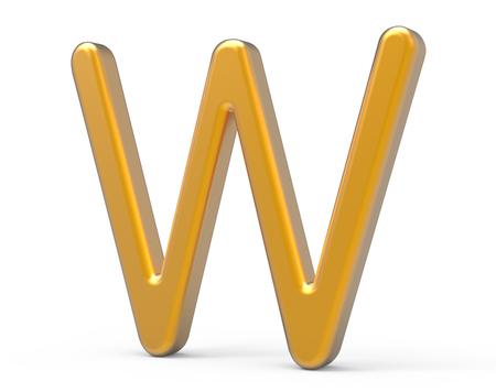 3D übertragen metallisches Alphabet W, dünnes und glattes goldenes Design der Schriftart 3D Standard-Bild - 89441812
