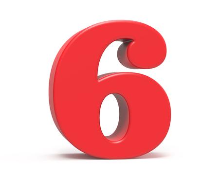 3D render red number 6, retro fat 3D figure design Stock fotó