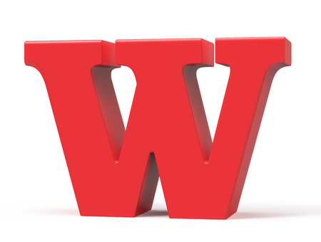 3D übertragen rotes Alphabet W, Retro- fettes Design der Schrift 3D Standard-Bild - 89441822