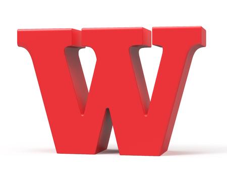 3D render red alphabet W, retro fat 3D font design
