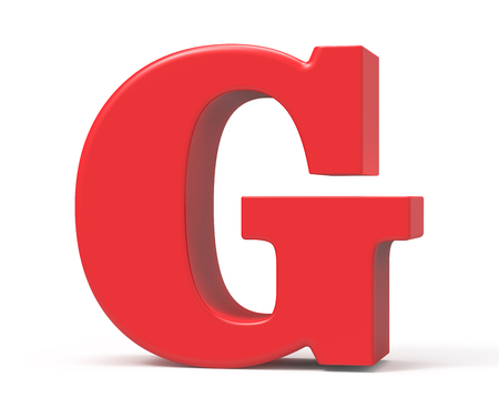 3D 렌더링 빨간색 알파벳 G, 레트로 지방 3D 글꼴 디자인 스톡 콘텐츠