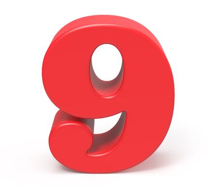 3D render red number 9, retro fat 3D figure design