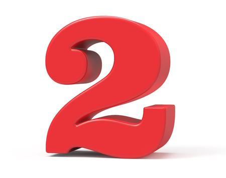 3D render red number 2, retro fat 3D figure design