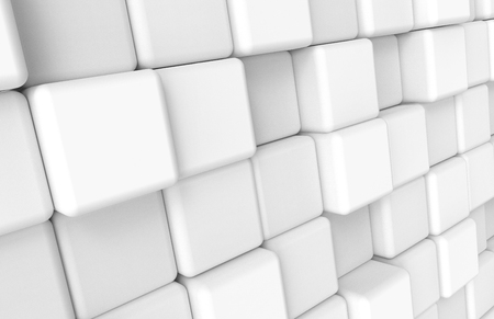 White Rounded cube background, abstract blank wallpaper in 3d rendering