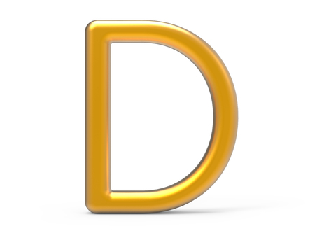 3D レンダリングメタリックアルファベット D、薄型で光沢のあるゴールデン3D フォントデザイン