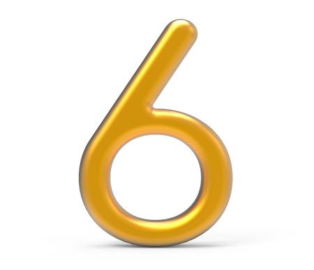 3D render golden number 6, thin and plastic texture 3D figure design