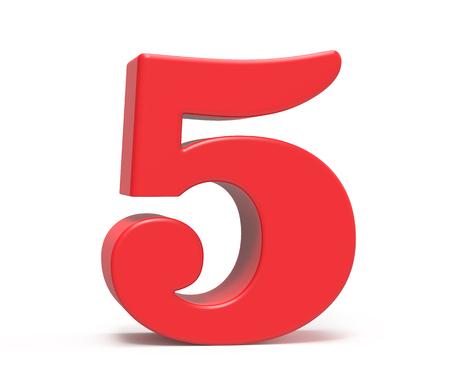3D geef rood nummer 5, retro vet 3D cijferontwerp terug