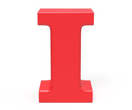 3D geef rood alfabet I, retro vet 3D doopvontontwerp terug