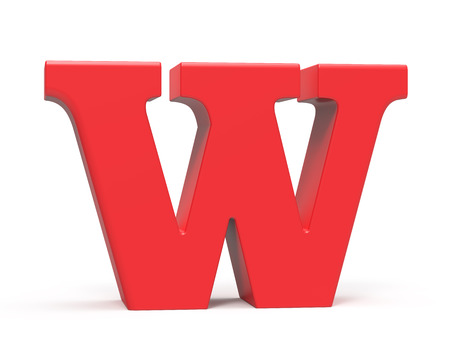 3D übertragen rotes Alphabet W, Retro- fettes Design der Schrift 3D Standard-Bild - 89441857