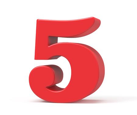 3D render red number 5, retro fat 3D figure design Stock fotó