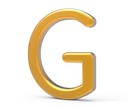 3D rinden el alfabeto metálico G, diseño de fuente de oro 3D fino y brillante Foto de archivo - 89454606