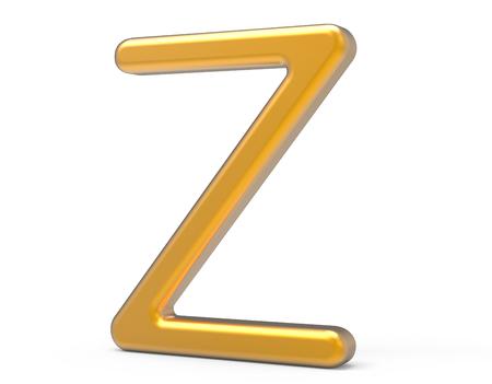 3D render metallic alphabet Z, thin and glossy golden 3D font design