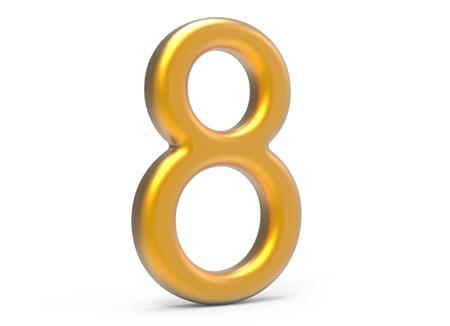 3D rinden el número de oro 8, el diseño delgado y plástico de la figura 3D de la textura Foto de archivo - 89441872