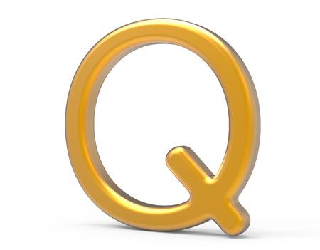 3D render metallic alphabet Q, thin and glossy golden 3D font design Фото со стока