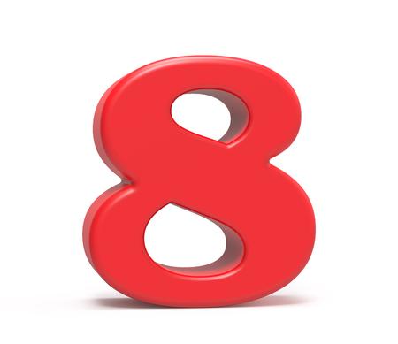 3D geef rood nummer 8, retro vet 3D cijferontwerp terug Stockfoto