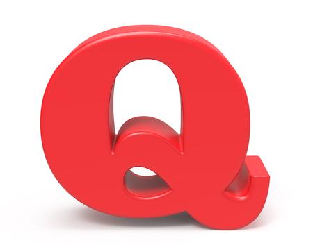 3D render red alphabet Q, retro fat 3D font design Stock Photo