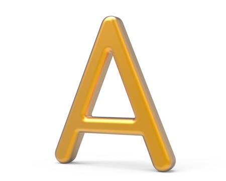 3D render metallic alphabet A, thin and glossy golden 3D font design