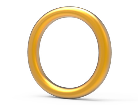 3D render metallic alphabet O, thin and glossy golden 3D font design
