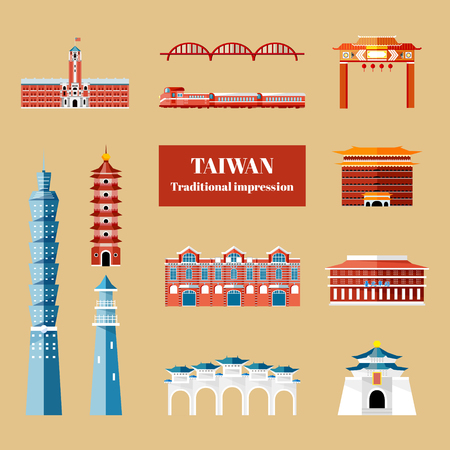 Taiwan travel concept, famous Taipei attractions collection in flat design Çizim