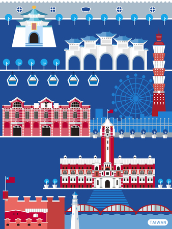 Taiwan travel concept, famous attractions in Taipei isolated on blue background, flat design Vectores